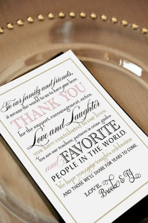Printable Wedding Thank You Note for Guests, Calligraphy, Welcome Bag ...