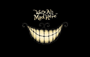 Wallpaper alice in wonderland cheshire cat, black background, madness