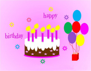 Cute Pink Background Birthday Card Sayings With Cake And Balloon ...