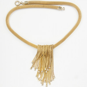 Hattie Carnegie Fold Over Golden Tassles with Spangles Necklace