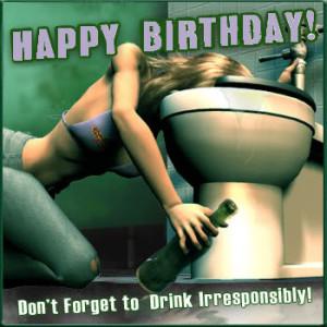 Myspace Graphics > Happy Birthday > happy birthday drunk Graphic