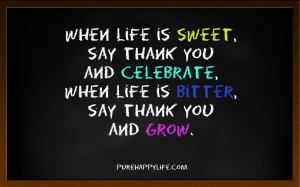 Life Quote: When life is sweet, say thank you and celebrate, when..