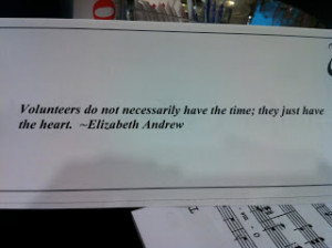 Miscellaneous quotes were placed at each table at the end of volunteer ...