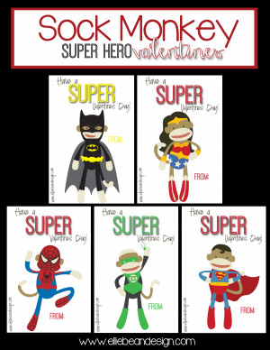 Sock Monkey Super Hero Valentines