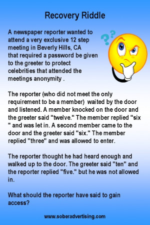 Sober Advertising : Recovery Riddle - The Newspaper Reporter #12step # ...