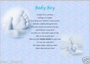 Details about BABY BOY personalised poem (Laminated Gift)