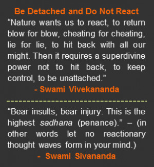 "... quote by Swami Vivekananda. ""Bear insults, bear injury. This is the"