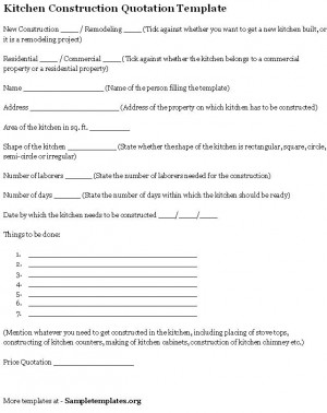 kitchen quotation template : kitchen.xcyyxh, Invoice templates