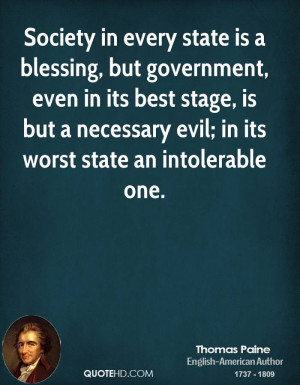 Society in every state is a blessing, but government, even in its best ...