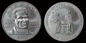 Crispus Attucks Silver Dollar Coin issued in 1998.
