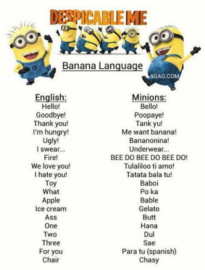 Dispicable Me Minions Language :)