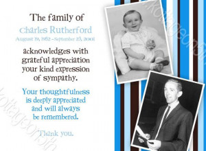 Memorial or Funeral - Celebration of Life - Sympathy Thank You Cards ...