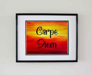 Carpe Diem Inspiring Quote Prints - Motivational Wall Decor Sunrise ...
