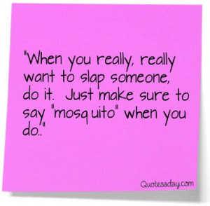 funny, haha, mosquito, quotes, slap