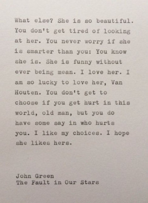 John Green The Fault in Our Stars quote typed by WhiteCellarDoor, $20 ...