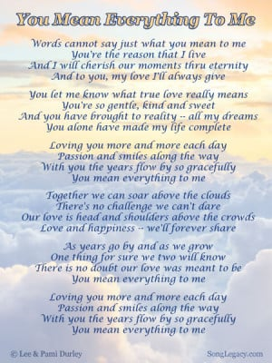 Lyric Sheet for original romantic song by Lee Durley
