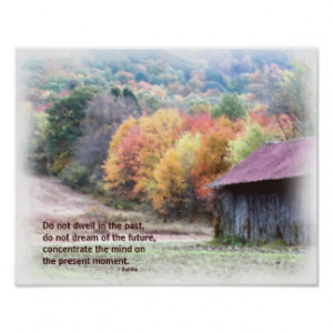 Tobacco Barn Fall Foliage Inspirational Quote Post Posters