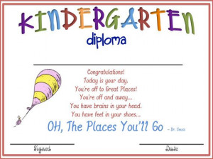 Kindergarten Oh The Places Youll Go BLANK Diploma via Etsy