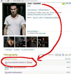 soalnya ane liat di IMDB ga ad tuh namanya Joe Taslim