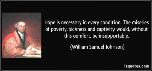 Hope is necessary in every condition. The miseries of poverty ...