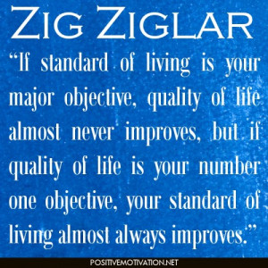 If standard of living is your major objective, quality of life almost ...