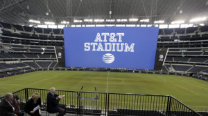 The new name of Dallas Cowboys stadium is unveiled during a news