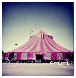 big top, circus, pink, stripes, tent, vintage - image #9546 on Favim