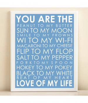 Love Of My Life Subway Art Print: 8x10 Typography Quote Poster in Sky ...