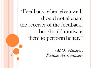 Feedback quote Fortune 500 Manager