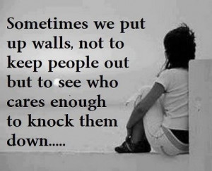 Sometimes we put up walls, not to keep people out but to see who cares ...