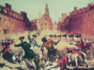 Painting of the Boston Massacre showing Crispus Attucks as he is shot.