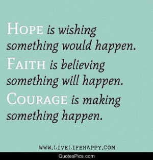 Hope, faith and courage – Anonymous