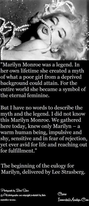 Marilyn Monroe - Lee Strasberg Eulogy