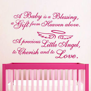 Wall-Decal-Quote-A-baby-Is-Blessing-Girl-Angel-Halo-Nursery-Bedroom ...
