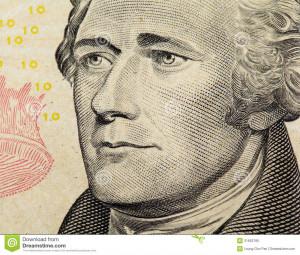 Alexander Hamilton on US ten dollars bank note close up