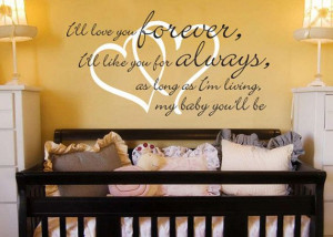Ill Love You Forever Quote - Hearts - Baby Nursery Vinyl Wall Word ...