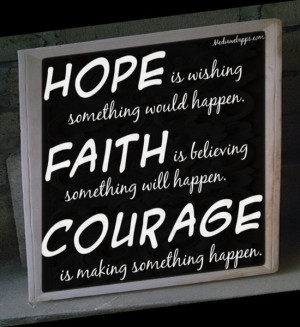 ... Is Believing Soemthing Will Happen. Courage Is Making Something Happen