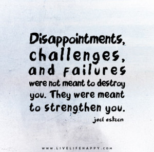 Disappointments, challenges, and failures were not meant to destroy ...
