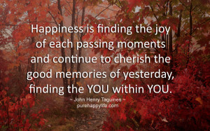 Happiness Quote: Happiness is finding the joy of each passing moments ...