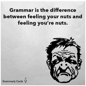 Grammar is the difference between feeling your nuts and feeling you're ...