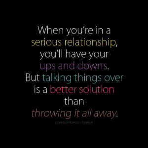 ... talking things over is a better solution than throwing it all away