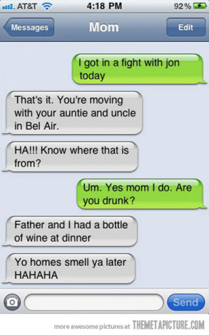 Funny photos funny mom texting son