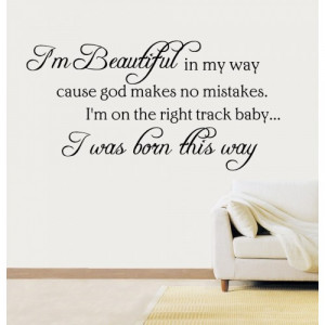 Born This Way Lady Gaga Quote Vinyl Sticker Wall Art Lounge Bedroom HS ...