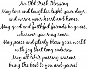 Love Sentences on Old Irish Blessing Love Laughter Wall Decals Trading ...