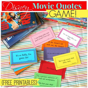 Disney Movie Quotes Game with free printable....this is definitely ...