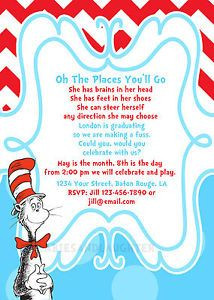 Dr Seuss Preschool Kindergarden Graduation Invitation Digital File 5x7 ...