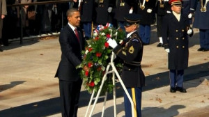 After a wreath-laying ceremony to mark Veterans Day, President Barack ...