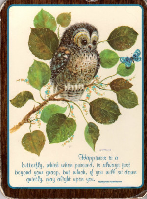 Vintage Inspirational Owl Wall Hanging - Happiness Quote from ...