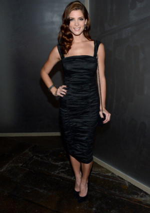 Ashley Greene donned beautiful Ruched Dark Blue Dress from the Donna ...
