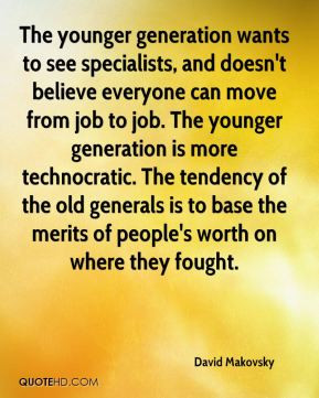 David Makovsky - The younger generation wants to see specialists, and ...